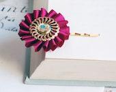 Violet Red and Gold - vintage porcelain hair pins