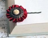 Red wine  and Almond - Chrysanthemum brass Hair Pin