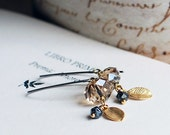Tiny leaf  on Sterling silver earrings - with Light Smoked Topaz Crystal Quartz