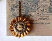 Dark Goldenrod and brown flower brass Hair Pin
