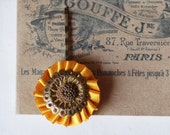Yellow Mustard and brown flower hair pin
