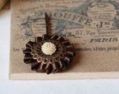 Brown and Vanilla flower hair pin