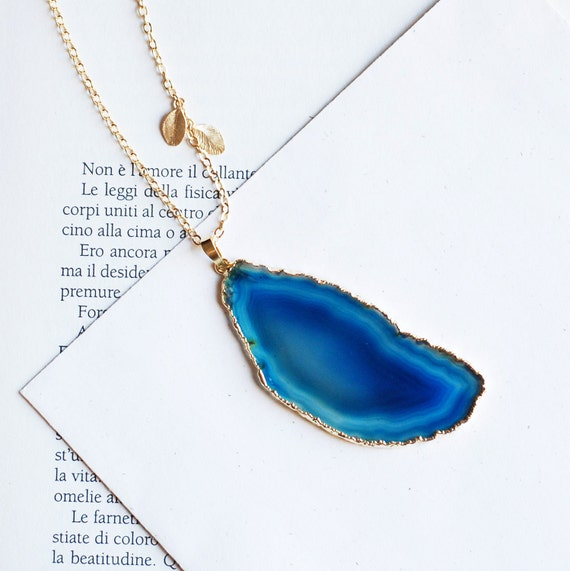 Blue Agate with 24K Gold Edge necklace and  tiny leaves