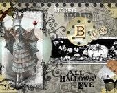Halloween Card, Halloween Bat Lady, All Hallows Eve Card, Pumpki, and All Hallows Eve