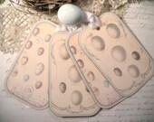 Pastel Egg Tags Shabby Pale Ivory and Robin's Egg Blue For Easter