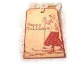 Vintage Christmas Tags Retro Woodcut Red and Cream Christmas Gift Tags