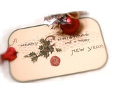 Merry Christmas Tag, Vintage Calling Card, Happy New Year Tag, Christmas Gift Tag