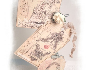 Paris Tags Vintage Romantic Paris Gift Tags Extra Thick French Paris Pink Dusty Rose Carte Postal