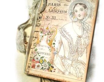 Paris Travel Journal,Parisian Mademoiselle Diary, Bridal Shower Notebook Paris Mini Diary, Flea Market Chic, Bridesmaid Gift  Pink and Blue