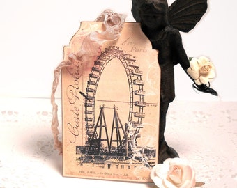 Ferris Wheel Tags Paris Vintage Romantic Paris Pink Gift Tags French Dusty Rose