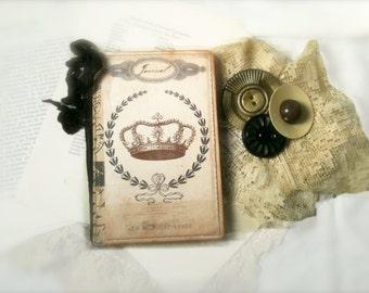 Paris Mini Travel Journal,  Parisian Mini Journal, Parisian Diary, Pocketbook Journal, Paris Travel Journal, Crown Notebook, Paris Jotter,