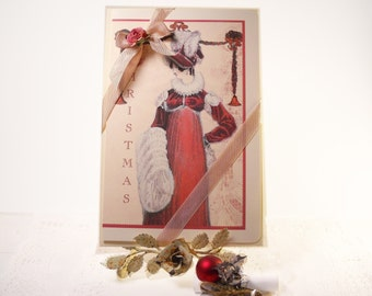 Jane Austen Christmas Card Regency Lady Holiday Card Christmas Jane Austen