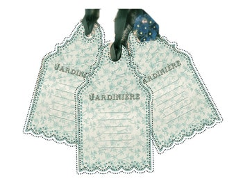 Garden Gift Tags Green Jardiniere Tags French Garden French Blue