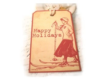 Vintage Christmas Tags Retro Woodcut Red and Cream Christmas Gift Tags