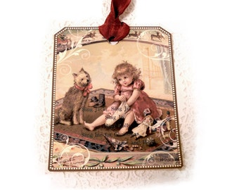 Merry Christmas Tag, Heavy Card Stock, Little Doggie Tag, Vintage Christmas Scene, Victorian Girl Stocking Doggie by Dorothy Jane