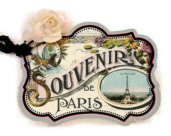 Paris Souvenir Tag, Flea Market Chic, Gift Tag, Paris Gift Tag, Party Favor Tag, Gift Enclosure