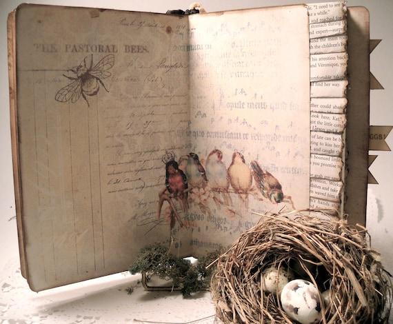 Nature Travel Journal, Bird Nest Journal,  Nature Diary,  Art Journal, Hand Made Travel Notebook, Journals and Notebooks