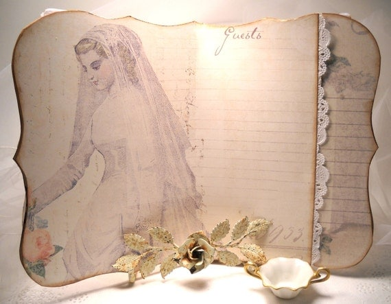 RESERVE - Wedding Guest Book  Bridal White Register for Guests, Bridal Shower,  Wedding Art Journal Romantic Shabby Victorian