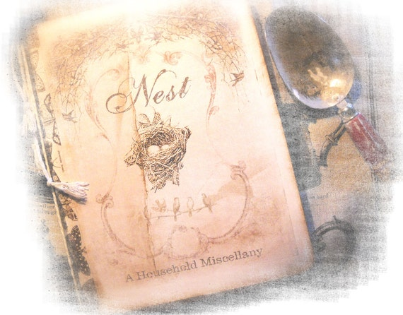 Nest Household Journal, Daily Diary Recipe Keeper, Bird's Nest Diary, Family Tradition Blank Book, Ecological Journal,  GiftsFor Her