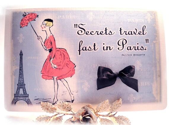 Retro Paris Greeting Card Blank Greeting Card French Eiffel Tower Black Red Blue