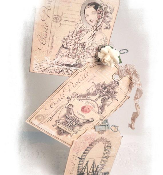 Paris Tags Vintage Romantic Paris Gift Tags Extra Thick French Paris Pink Dusty Rose Carte Postal