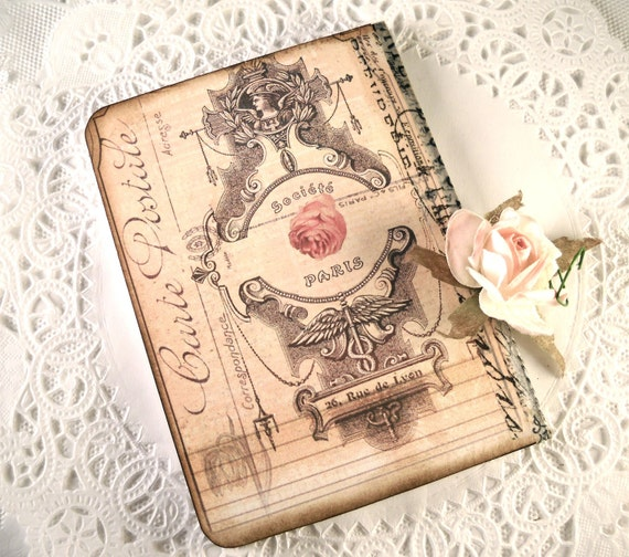 Tiny Parisian Journal Victorian  Dusty Rose Tiny Paris Journal Shabby Chic