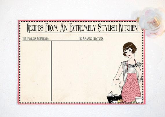 Bridal Shower Recipe Cards, Retro Recipe Cards, Pink and Black recipe cards, Party Favor Recipe Cards