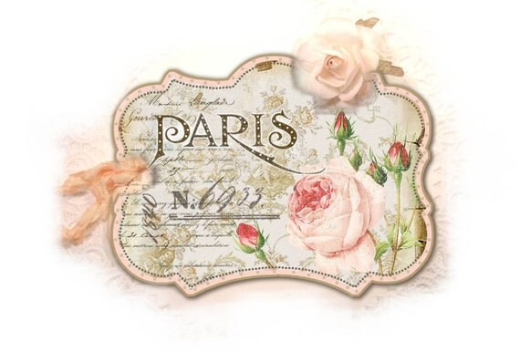 Pink Paris Tags, Paris Rose Tag, Pale Pink Parisian Redoute Rose, Double Thickness Gift Tag, Paris Pink, Shabby Chic, Soft Pale Pink
