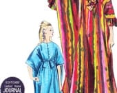Vintage Sewing Pattern 1960s Vogue 7030 Mod Womens Caftan Robe with Ruffled Neck and Cuffs or Waist Tie One Size Uncut