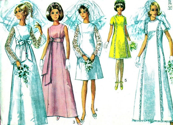 Vintage sewing pattern 1960s empire waist by neenerbeenerknits for Empire waist wedding dress patterns