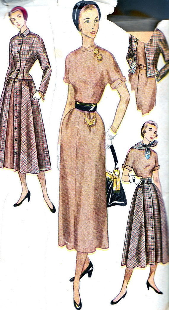 1950s Dress Pattern Simplicity 3127 Sheath Dress Gored Overskirt Fitted Jacket Scarf Womens Vintage Sewing Pattern Bust 34