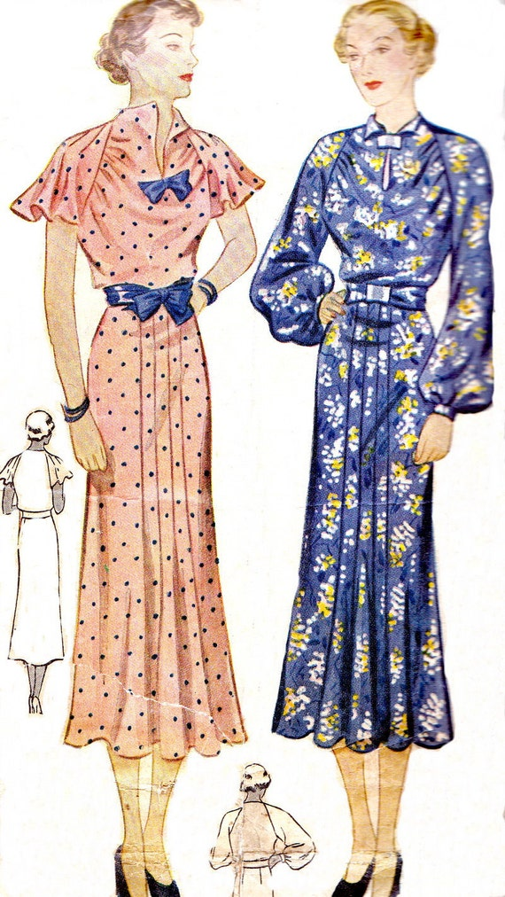 Vintage Sewing Pattern 1930s Simplicity 2016 Dress with Raglan