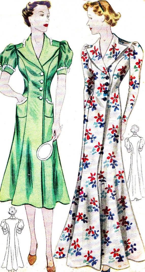 RESERVED FOR MaryPoppinsVintage1 Vintage Sewing Pattern 1930s Simplicity 2348 Plus Size Front Wrap Dress, House Coat Bust 40