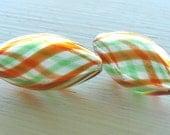 Orange/Green Plaid Hand Blown Glass Ovals 12x25mm 2pk