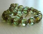 Czech Glass Beads - Peridot Picasso Renaissance 25pk