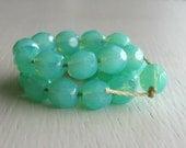 25 Milky Seafoam Faceted 6mm Rounds - Czech Glass Beads