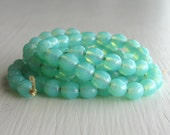 100 Milky Seafoam Smooth 4mm Rounds - Czech Glass Beads