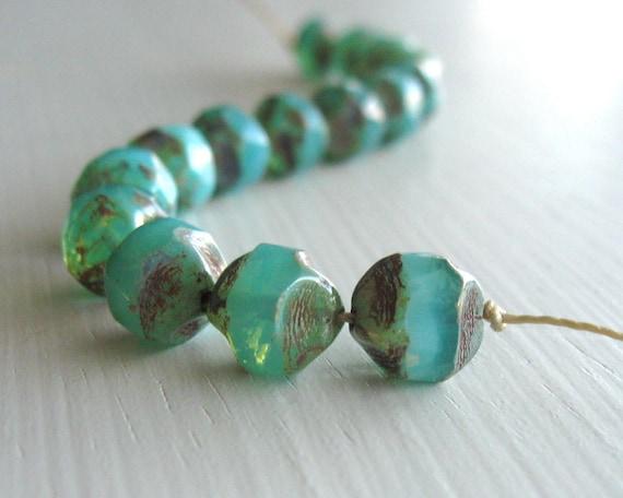 15 Milky Seafoam Picasso Irregular Rounds  - Czech Glass Beads