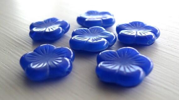 Opaque Cobalt Blue Czech Glass Flower Beads 5x15mm 6pk
