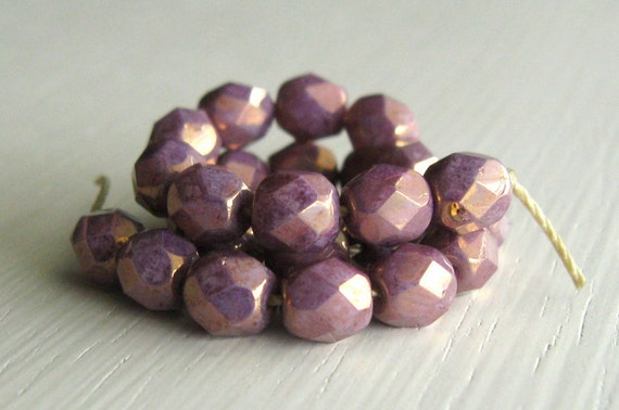 25 Opaque Marbled Purple Luster 6mm Faceted Rounds - Czech Glass Beads