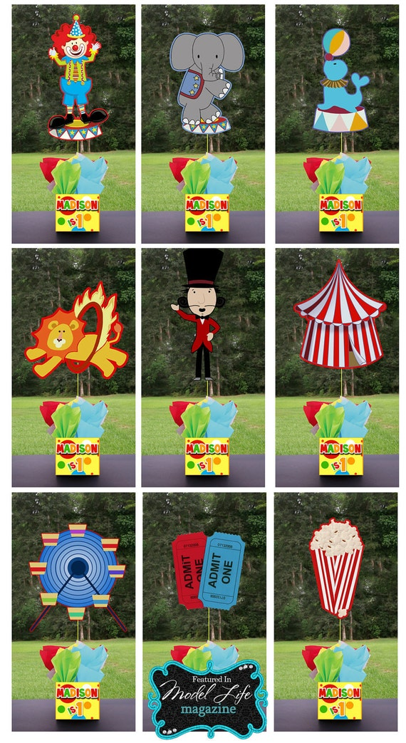 CIRCUS CARNIVAL FAIR Party Centerpiece 3 feet tall and favors Mitzvah baby shower 1st birthday centerpieces