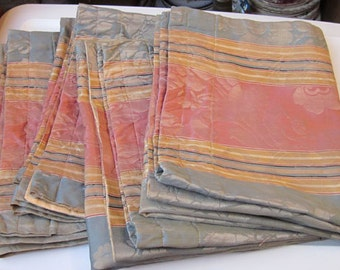 Vintage Set of Four - Pink, Blue, Gold Damask Rod Pocket Panels - Possible Seat Covers - Possible Pillowcases