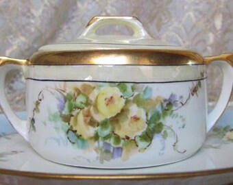 Vintage Hand Painted German Sugar Bowl - Luster - Yellow Roses