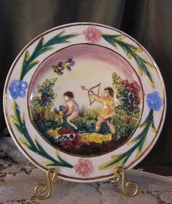 Vintage Capodimonte Plate, Hunting Scene, Italy TREASURY ITEM