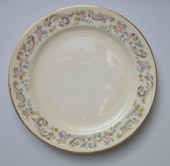 Vintage Paden City DUCHESS PATTERN Bread and Butter Plate - Pastel Floral