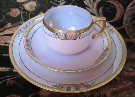 Vintage Hand Painted Nippon Breakfast Lunch Trio - Teacup - Saucer - Plate Roses, Lusterware, Gilt TREASURY ITEM