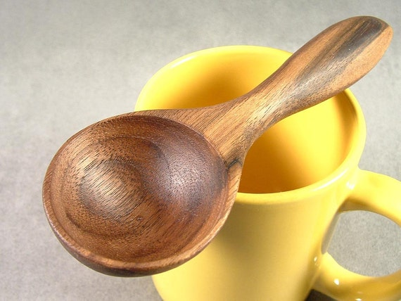 Wooden Coffee Scoop, Measuring Spoon, Hand-Carved from Black Walnut Wood