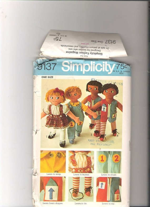 Vintage Simplicity Teach Me Doll Pattern