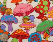 RARE COLORFUL MUSHROOMS White Quilt Fabric - by the Yard - Retro Style 60s 70s Design - New Fabric (Not vintage)