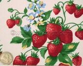 STRAWBERRY FAIR Cream Strawberries Picnic Printed Quilt Fabric - 1 Yard
